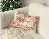 Dollhouse Miniature Christmas Blessings Cushion Pillow Shabby Chic 12th Scale. - sarahslilessentials