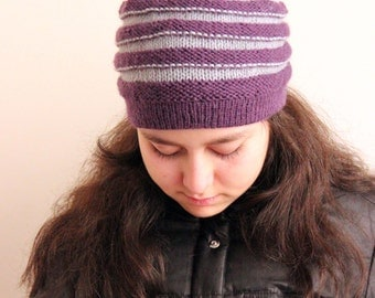 Ready to Ship Valentines Hand knit Warm  Beanie hat with stripes, hand knit for her: womens teens beanie beret hat, slouchy, toque, skullcap