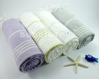 Turkish Towels, Set of 4,  BEACH Towel, Lavander, Gray Turkish Towel, Fouta, Peshtemal, Bridesmaid Gift, Hammam Towel, Spa Towel