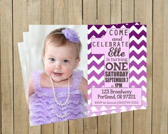 Purple Ombré Chevron One First Birthday Invitation, Girl, Printable, Custom Digital File