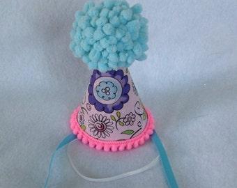 Aqua Flower Dolly Birthday Party Hat