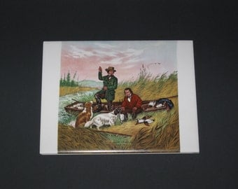 """Currier & Ives Tile/Trivet - Wild Duck Shooting / Hunting Dogs 6"""" x 8"""" Mexico"""