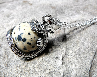 Dalmatian Jasper Chinese Dragon Necklace, Dalmatian Jasper Necklace, Fantasy Jewelry, Orb Pendant Necklace, Spotted Stone Necklace