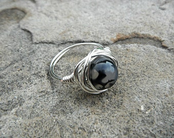 Black Agate Ring, Wire Wrapped Ring, Black Ring, Wire Wrapped Jewelry Handmade, Black Stone Ring, Agate Jewelry, Statement Ring
