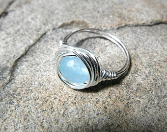 Baby Blue Jade Ring, Wire Wrapped Ring, Blue Ring, Blue Stone Ring, Wire Wrapped Ring, Wire Wrapped Jewelry Handmade, Silver Ring