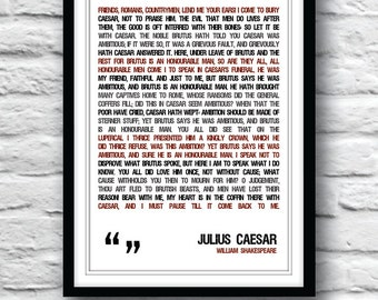 Shakespeare quote, Shakespeare poster, Julius Caesar Poster, quote poster, typographic poster, Shakespeare, wall decor