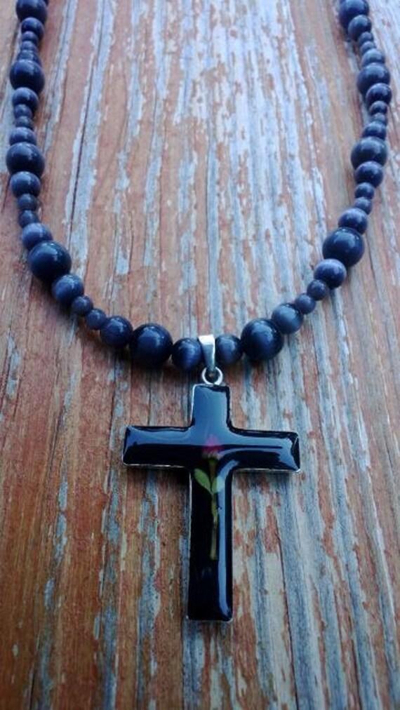 Cross Necklace, Black Beaded Necklace, Black Cross,  Unique Cross, Religious Jewelry, Empathy