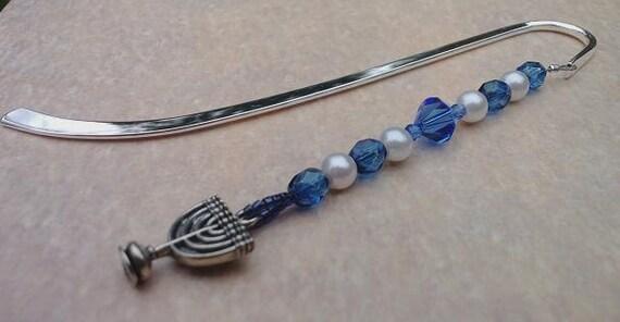 Menorah Beaded Bookmark, Hanukkah Gift Idea, Menorah Charm