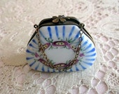 Vintage Limoges  Hand Painted Pill Box Purse.