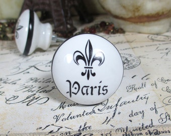 Ebony Black & White Paris Fleur de Lis Ceramic Drawer Knob