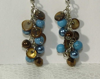 Cynthia Lynn Blue Turquoise Brown Glass Bead & Crystal Earrings Inspired by JAVA BLUE 2 inches