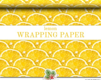 Yellow Lemon Fruit Wrapping Paper |  Yellow Lemon Slices Photo Gift Wrap In Two Sizes Great For Any Occasion. Made In The USA