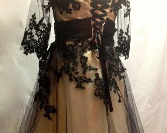 Black Lace Steampunk Wedding Dress