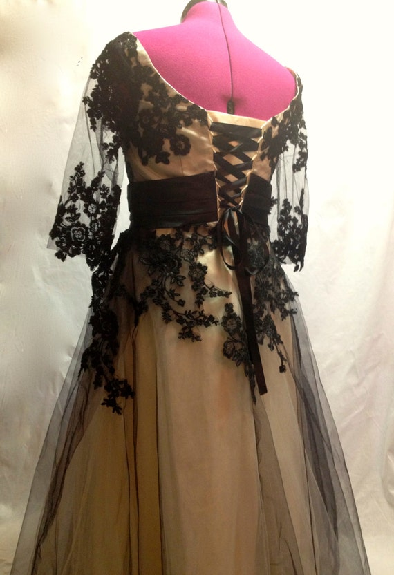 Items similar to black lace steampunk wedding dress on etsy for Wedding dress on etsy