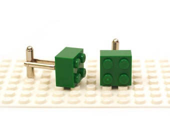 Green colour 2 x 2 brick cufflinks. Cufflinks made with LEGO(R) bricks.    Cuff links Wedding gift