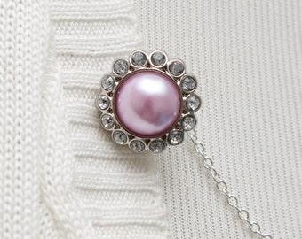 Cardigan Clasp - Pink Pearl Rhinestone