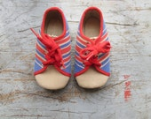 French vintage 60's / kids / canvas shoes / sneakers / striped / blue and red / new old stock / size EU 21