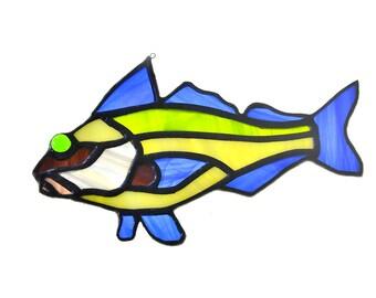 Stained glass fish salmon suncatcher, window ornament, hanging home decor green blue yellow colourur