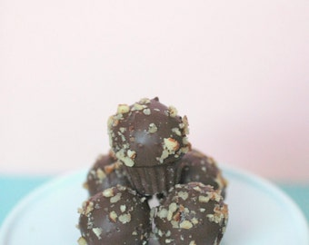 German Chocolate Mini Cupcake Cake Bites (25) Edible Favor, Edible Gift, Wedding, Baby Shower, Bridal Shower, Birthday, Cake Ball