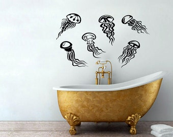Jellyfish Deep Sea Ocean Fish Monster Scuba Tentacles Housewares Wall Vinyl Decal Art Design Interior Bedroom Bathroom Decor Sticker SV3955