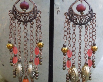 Copper Teardrop Dangle Earrings with Vintage Upcycled Beads
