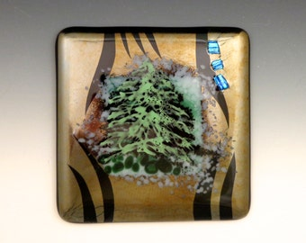 Evergreen Trees, Art Glass Wall Tile - kiln-formed, fused, home decor