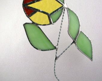 Stained glass Art Nouveau sunflower suncatcher