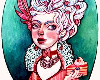 Let Them Eat Cake, Marie Antoinette Watercolor Painting Illustration Art Print