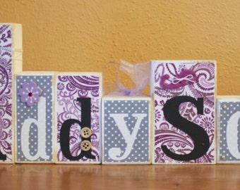 Purple Gray Nursery- Purple Grey Nursery- Dahlia Baby- Purple Baby Shower Blocks- Paisley Baby Shower- Paisley Nursery- Purple Paisley