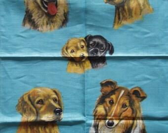 Vintage Irish Cabin Linen Tea Towel - Guide Dogs for the Blind - Linen Kitchen Cloth - Linen Tea Cloth