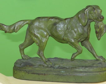 19th Century Hunting Dog Bronze Setter With Duck By PJ Mene