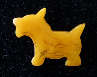 Vintage 1930's Bakelite Scottish Terrier Puppy Dog Brooch Pin - Free Shipping