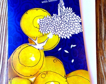 Card for Friend. Just because Card. Whimsical fun card. Lemon Dreams