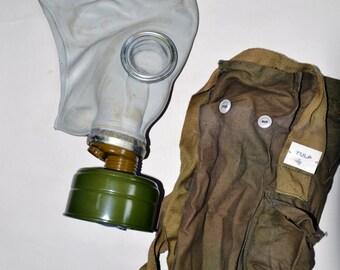 Soviet Vintage Gas mask 1970s with bag