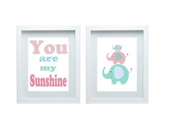 Elephant Nursery Decor, You Are My Sunshine Wall Art, Pink Aqua Blue, Baby's room Decor, Set of 2 - 8x10 Prints