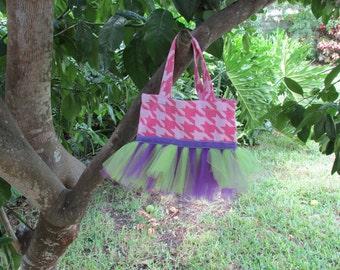 Pink Houndstooth Mini Tutu Bag