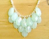 Mint bib necklace, Mint statement necklace, Chunky Mint necklace