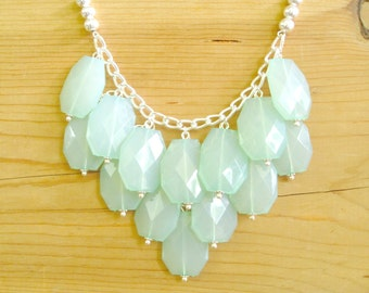 Mint bib necklace, Mint statement necklace, Chunky Mint necklace