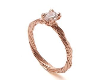 Twig Engagement Ring - 18K Rose Gold and Diamond engagement ring, engagement ring, leaf ring, Alternative Engagement Rings, unique ring, 3