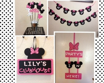Minnie Mouse Birthday Decorations Lot - Door sign/Banner/Centerpiece Personalized
