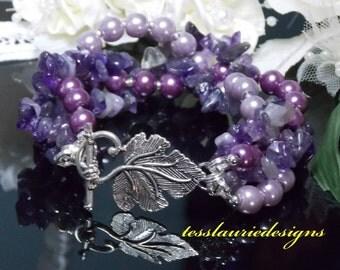 Chunky Amethyst Bracelet, Purple Cuff Bracelet, Amethyst Bracelet, Violet Bracelet, Bridal Bracelet, Pearl Bracelet, Statement Bracelet