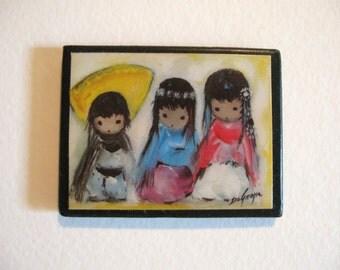 Vintage Three Little Children Magnet
