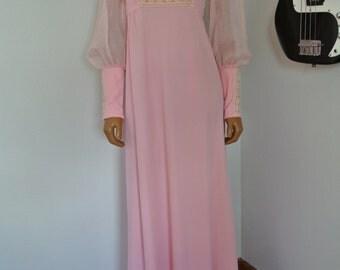 Mikey Jrs California Pink Maxi Long Boho Hippie Empire Dress Gown Renaissance Prairie /S