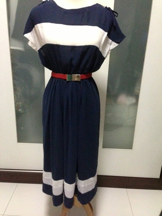 Vintage nautical navy blue and white stripe day dress with ribbons at shoulder