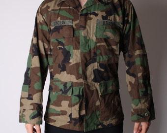 Vintage 90s Military Army Camoflauge US Army Soldier Grunge Jacket