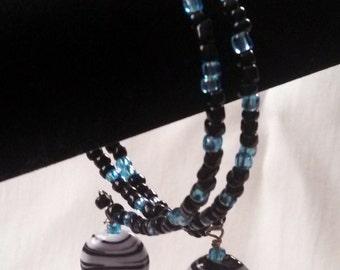 Black & blue zebra wrap bracelet
