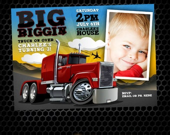 Semi Truck Big Riggin Printable Birthday Invitation