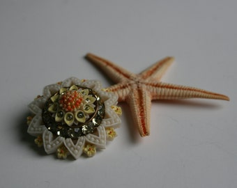 Vintage 1950s TRIAD Thermoset Brooch in Yellow, Coral and White Floral Design with Channel Set Rhinestones