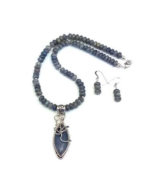 Labradorite Necklace & Earrings
