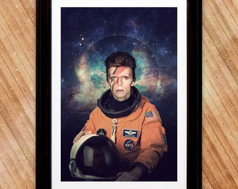 David Bowie Astronaut Poster, A Major Tom Space Print